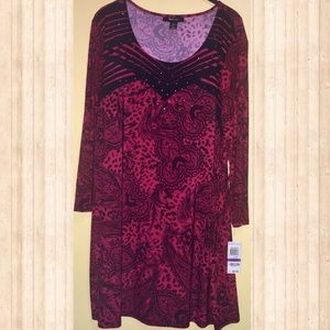 Style & Co. XXL Red Black Paisley Lace Print Tunic